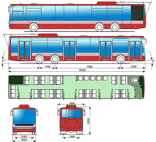 Чертеж троллейбуса Богдан Т801.10