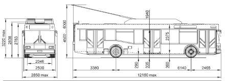 Троллейбус МАЗ 103Т. Чертеж
