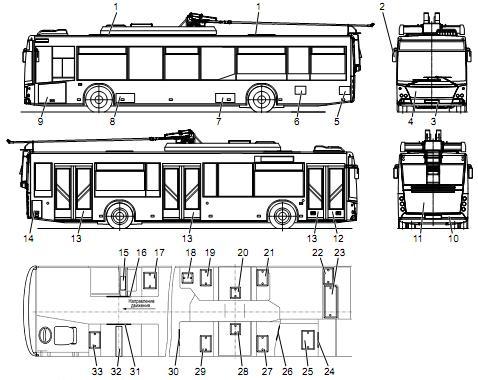 Троллейбус МАЗ 203Т. Чертеж