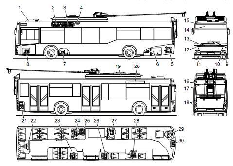 Троллейбус МАЗ 203Т. Установка электрооборудования