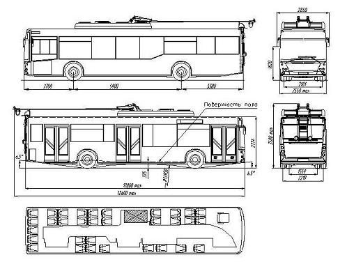 Троллейбус МАЗ_ЭТОН 203Т. Чертеж