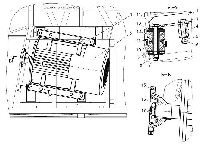 Чертеж подвески двигателя