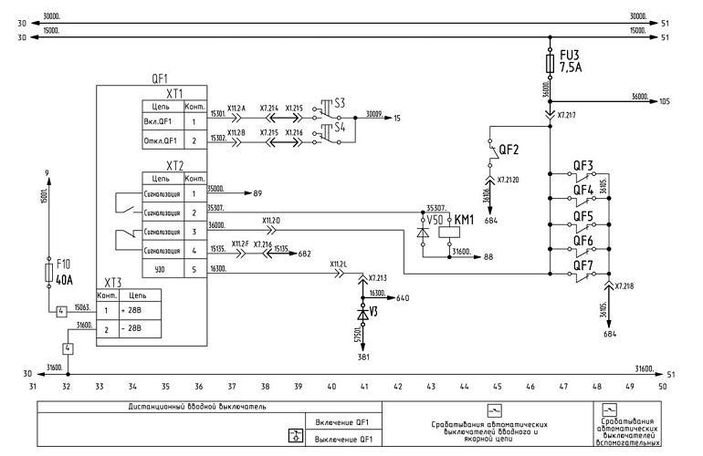 Схема диагностики и выключателя дистанционного