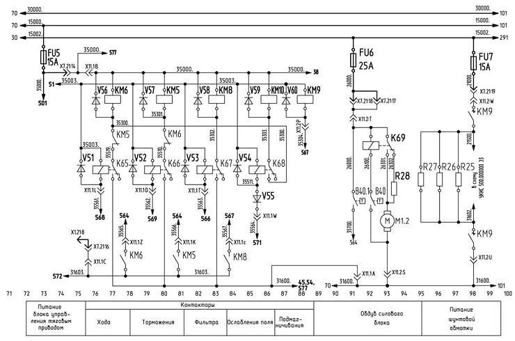 Схема питания шунтовой обмотки и контакторов