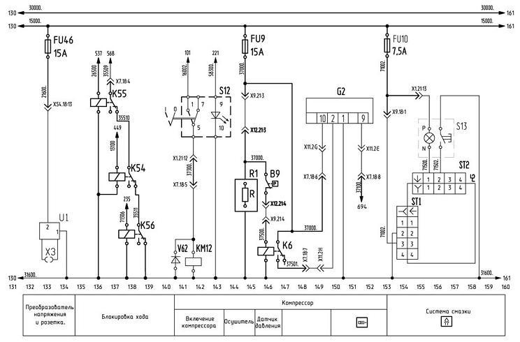 Схема управления компрессором и блокировка хода