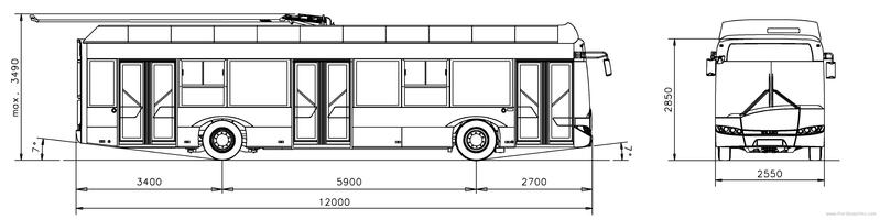 Троллейбус. Чертеж