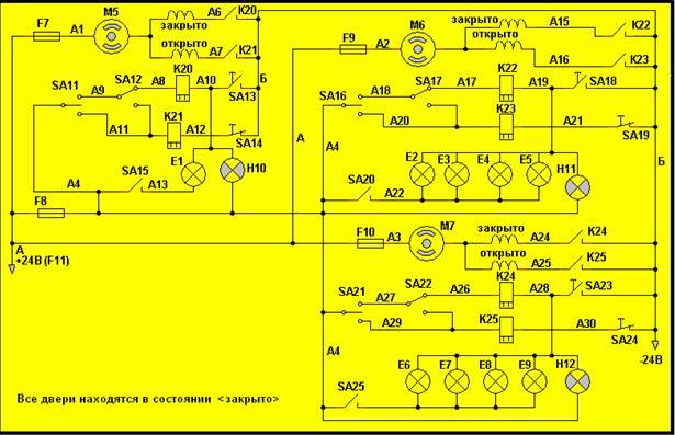 Электрическая схема привода дверей